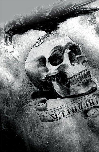 Татуировка череп с вороном