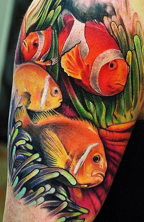 Рыбки из мультика на плече