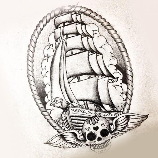 Эскиз тату морской тематики с сахарным черепом