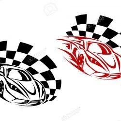 Авто на финише, спортивный эскиз