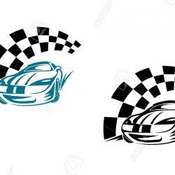 Спортивная татуировка автомобиль и финишная лента