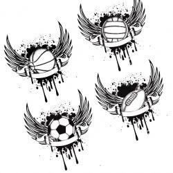 Мяч с крыльями для спортсменов, эскиз
