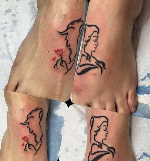 Парная татуировка на ногах