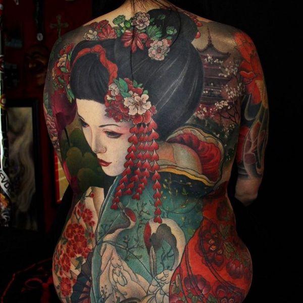 Реалистичная татуировка гейши