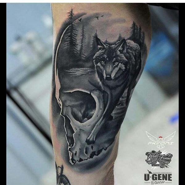 Тату картина волк в черепе