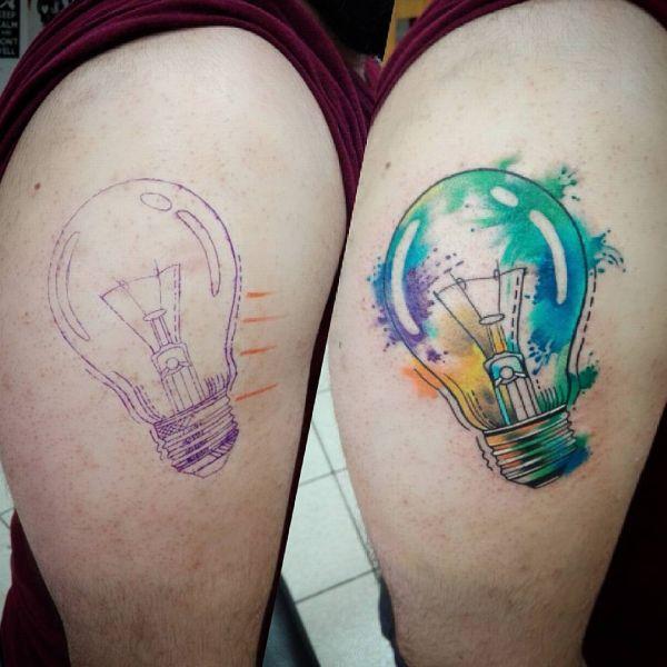 Татуировка лампочки в стиле акварель