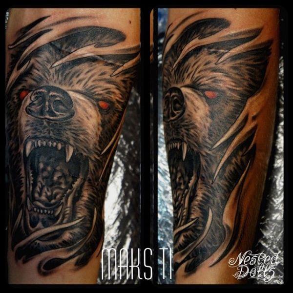 Татуировка оскал медведя