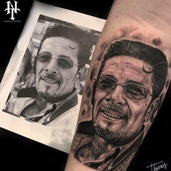 Татуировка портрет мужчины с эскизом