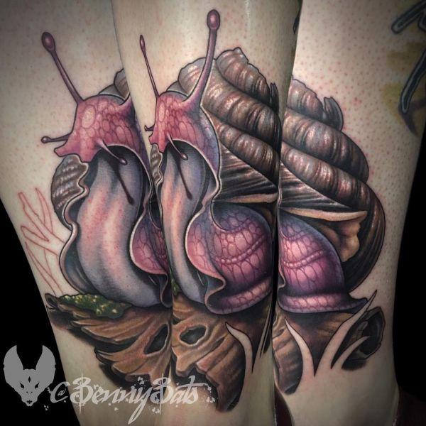 Красивая большая улитка в виде татуировки