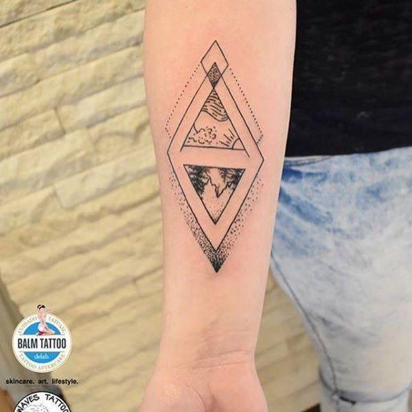 Татуировка в стиле геометрия на предплечье девушки