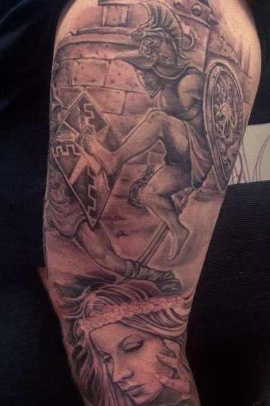 Татуировка гладиатора в сражении