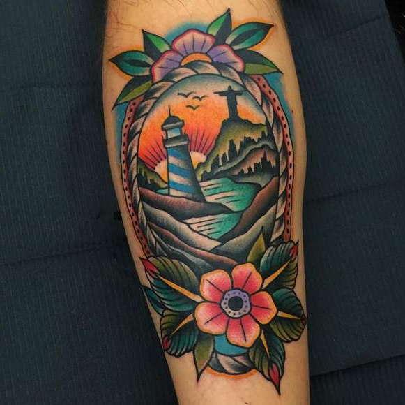 Типичная татуировка в стиле олд скул