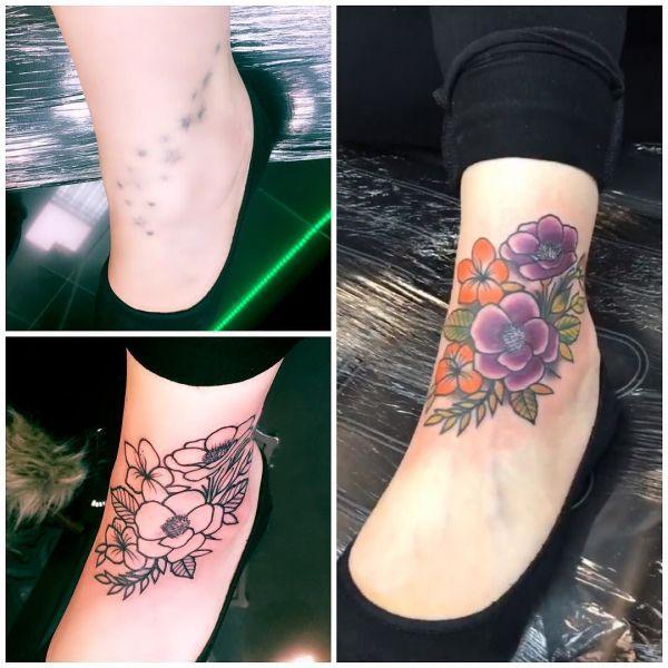 Татуировка перекрытие на ступне у девушки
