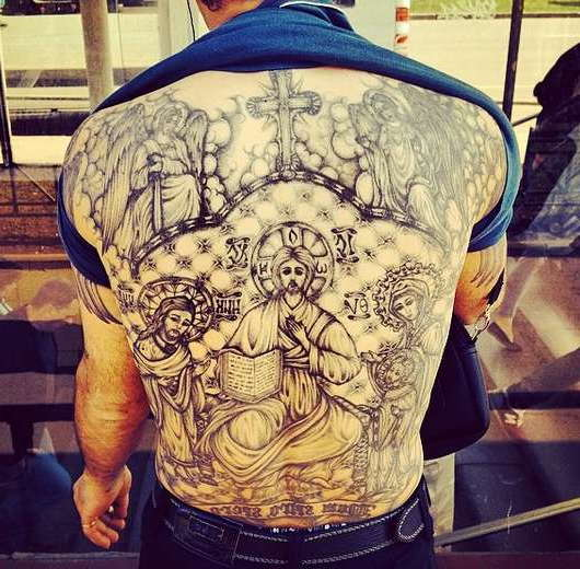 Спина в воровской татуировке