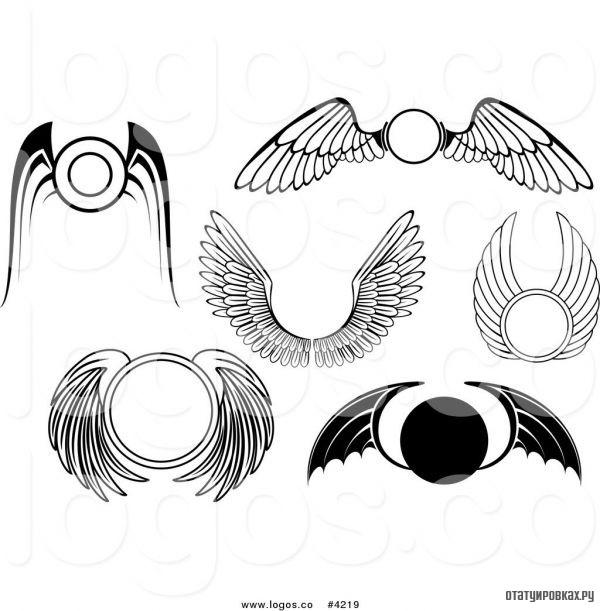 Эскизы татуировки кругов с крыльями