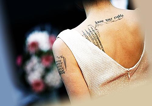 Татуировки Джоли, вид сзади