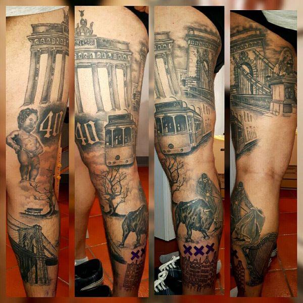 Татуировка картина в чб варианте