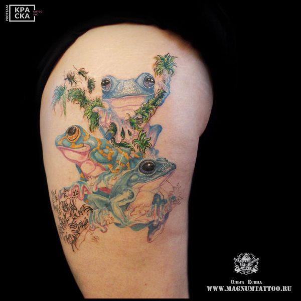 Татуировка в виде трех лягушек