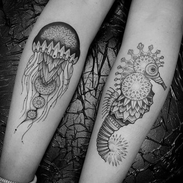 Морской конек и медуза