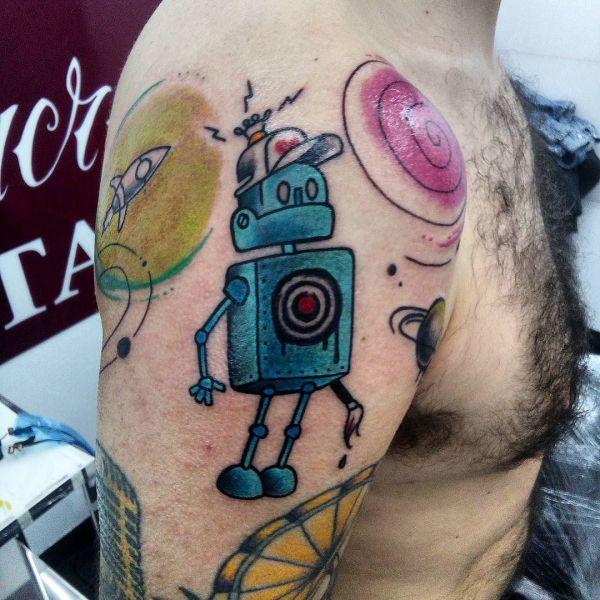 Татуировка синего робота