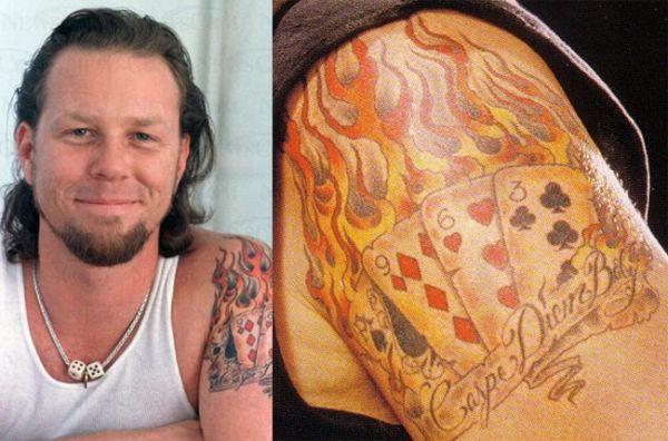 Горящие карты в виде татуировки у Джемса Хэтфилда