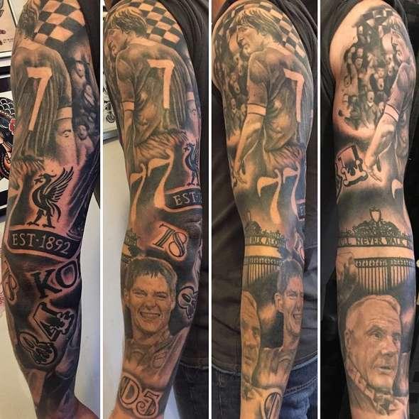 Татуировка рукав в футбольном стиле
