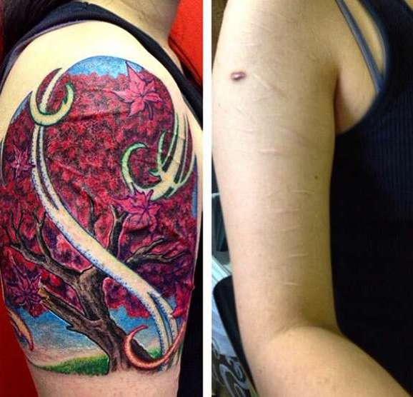 Татуировка на шраме руки