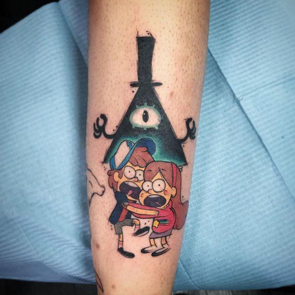 Татуировка двух мультяшных ребят в стиле new school