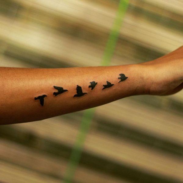 Стая птиц в чб варианте на руке