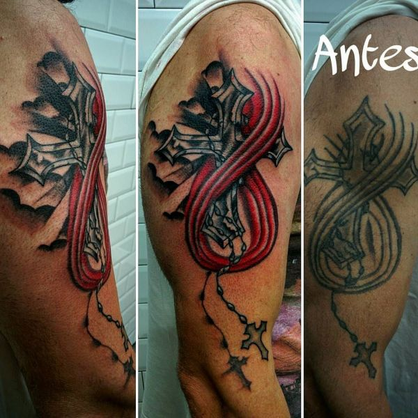 Татуировка до и после, или перебитая татуировка на плече