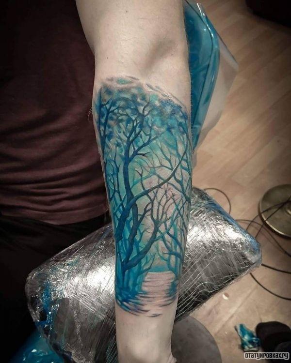Татуировка дороги с деревом на предплечье