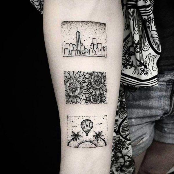Татуировка города в стиле дотворк