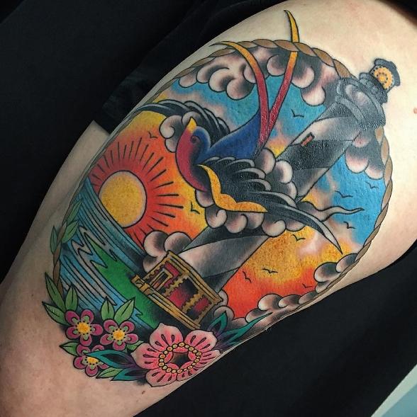 Олд скул стиль татуировки маяк