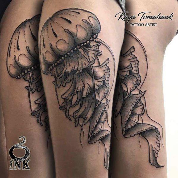 Татуировка медузы с разных сторон