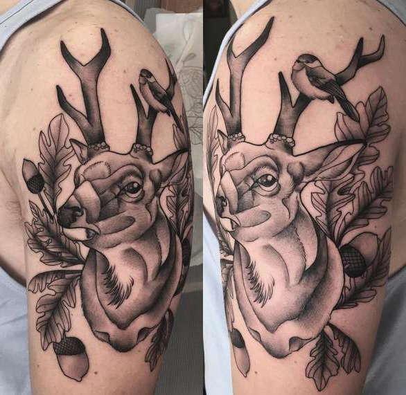 Олень с листьями дуба на плече