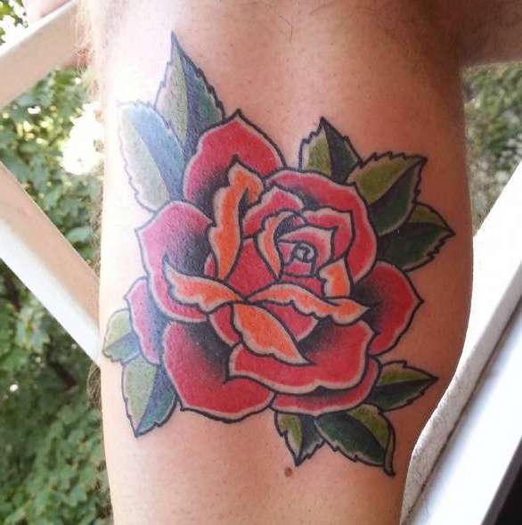 Роза в стиле олд скул
