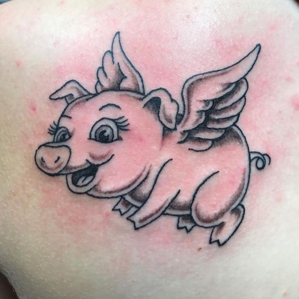 Свинюшка с крыльями в полете