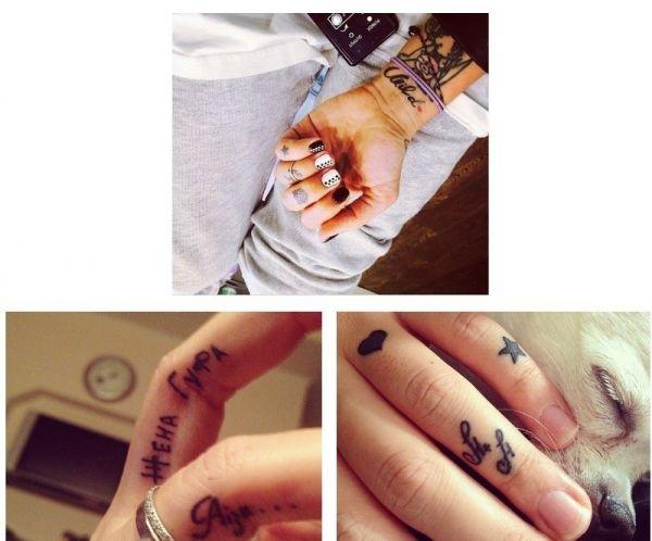 Три фотографии с татуировками Айзы Долматовой