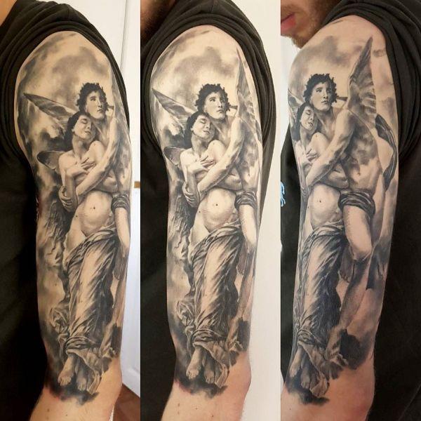 Ангелы-хранители в виде татуировки для мужчин