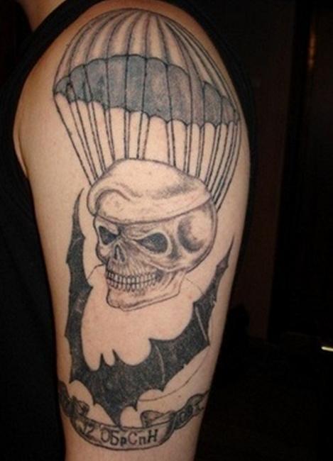 Татуировка ГРУ черепа с парашютом