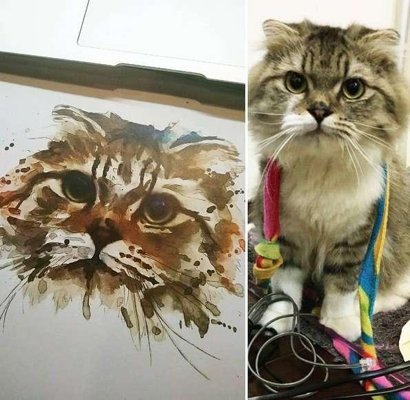 Кот в стиле акварель, эскиз