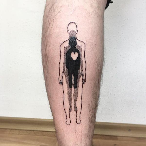 Татуировка трех человек один в другом