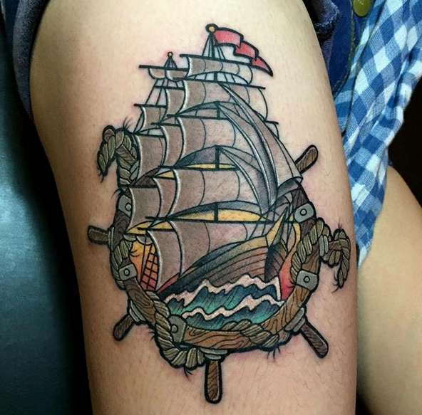 Корабль в стиле олд скул