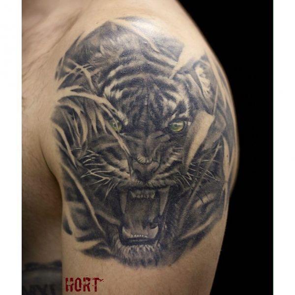 Оскал тигра на плече