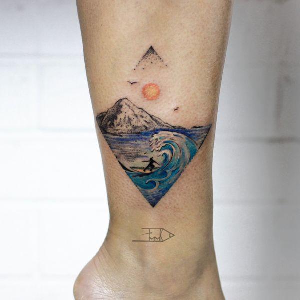 Татуировка моря и гор - пейзаж