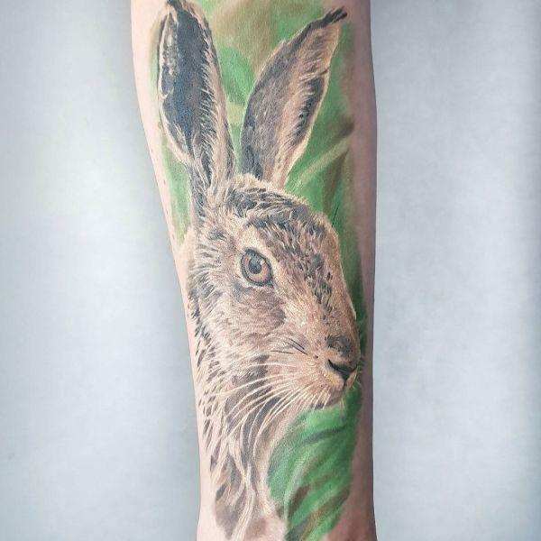 Тату зайца в стиле реализм