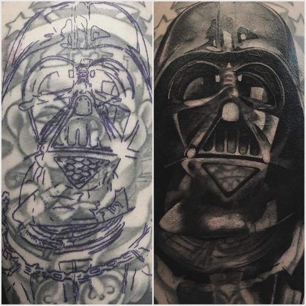 Татуировка перекрытие - чб тату