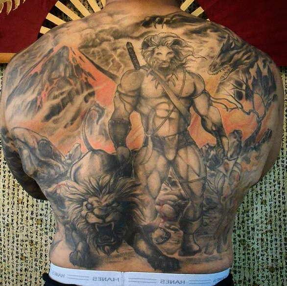 Татуировка воин в китайском стиле