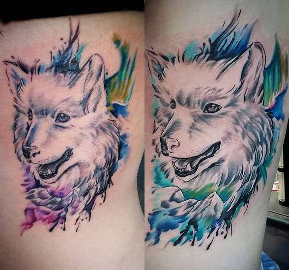 Акварельный волк - оригинальная тату
