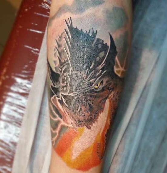 Фото морда дракона тату 7